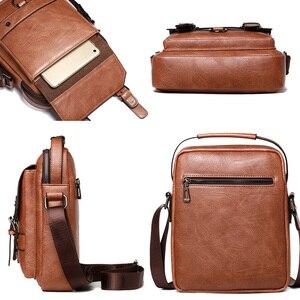 """Image 3 - Iş erkek omuz çantası PU deri erkek postacı çantası Retro erkekler Crossbody çanta 10.5 """"Ipad seyahat fermuar erkek çanta"""