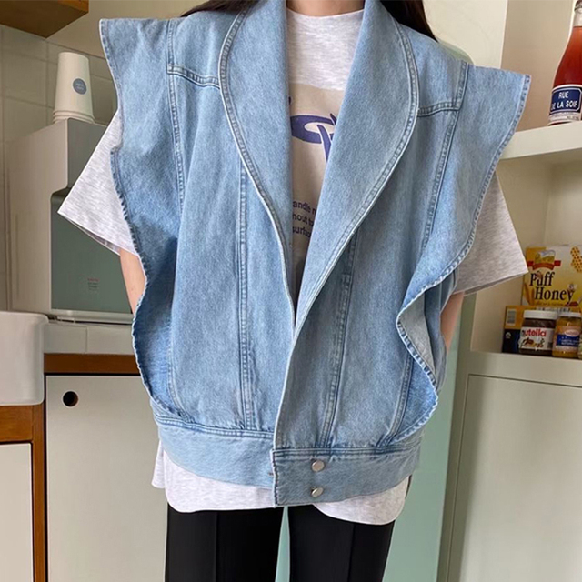 [EWQ] Korea Chic Summer Casual Lapel Ruffled Loose Blue Sleeveless Vest Jacket Women Summer Blue Trendy Ladies Clothing 2021 16E 2