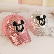 Little Girls Mickey Baseball Cap Shining Snapback Hat Baby Sun Hats Cap for A Boy Children Baseball Cap Summer Toddler Kids Hat(China)