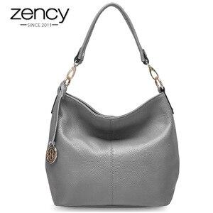 Image 1 - Zency Fashion Purple Women Shoulder Bag 100% Genuine Leather Elegant Tote Handbag High Quality Female Messenger Bags Classic