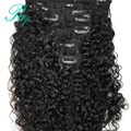 100% человеческие волосы на заколке для черных женщин, накладные вьющиеся волосы на заколке, натуральный черный цвет, 8 шт. и 120 г/компл., бразил...