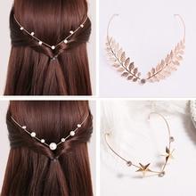 Ободки для волос со стразами и жемчугом в виде листьев; головные уборы для девочек в винтажном стиле; повязка для волос; аксессуары для волос со стразами; головной убор