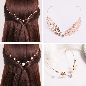 Retour tenir bandeaux cristal alliage bandeaux perle feuille chapeaux filles Vintage bandeau strass cheveux accessoires coiffure