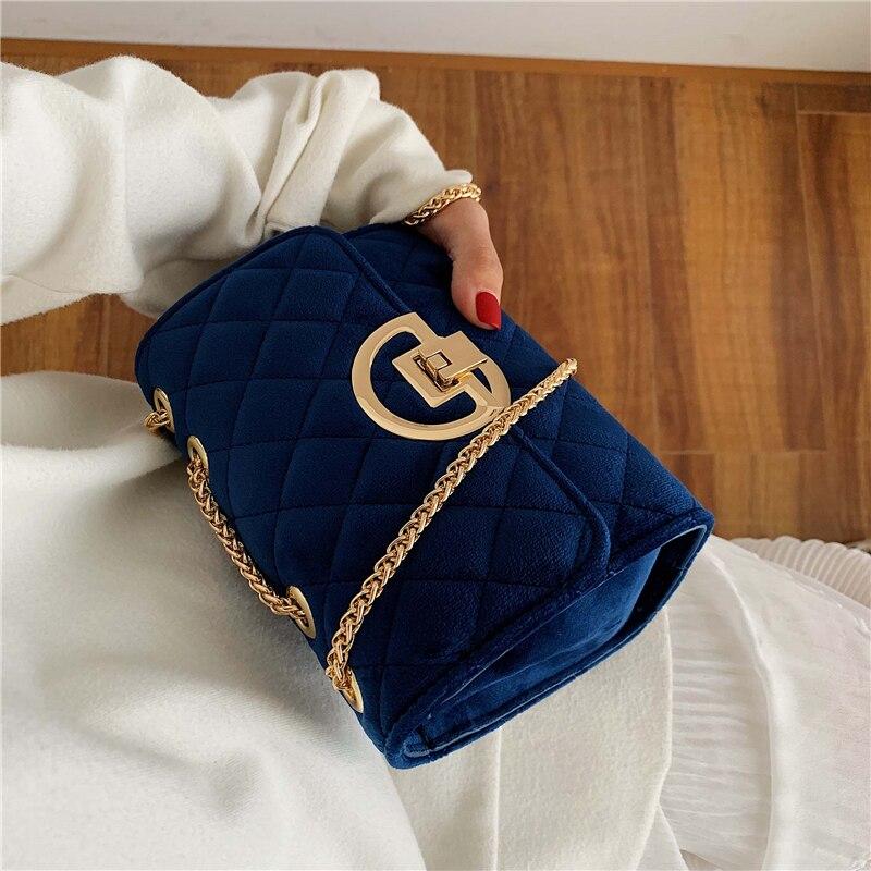 Winter Solid Color Velvet Mini Crossbody Bags For Women 2019 Lady Shoulder Messenger Bag Luxury Designer Purses And Handbags