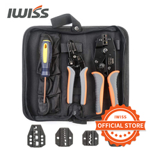 IWISS Crimping Tool Kits with Wire Stripper and Cable Cutters Suitable for Non-Insulated & Insulated Cable End-Sleeves Terminals 10 16 25 35mm super strength saving crimping pliers ratchet crimping tool insulated and non insulated cable end sleeves dr1035gf