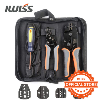цена на IWISS Crimping Tool Kits with Wire Stripper and Cable Cutters Suitable for Non-Insulated & Insulated Cable End-Sleeves Terminals