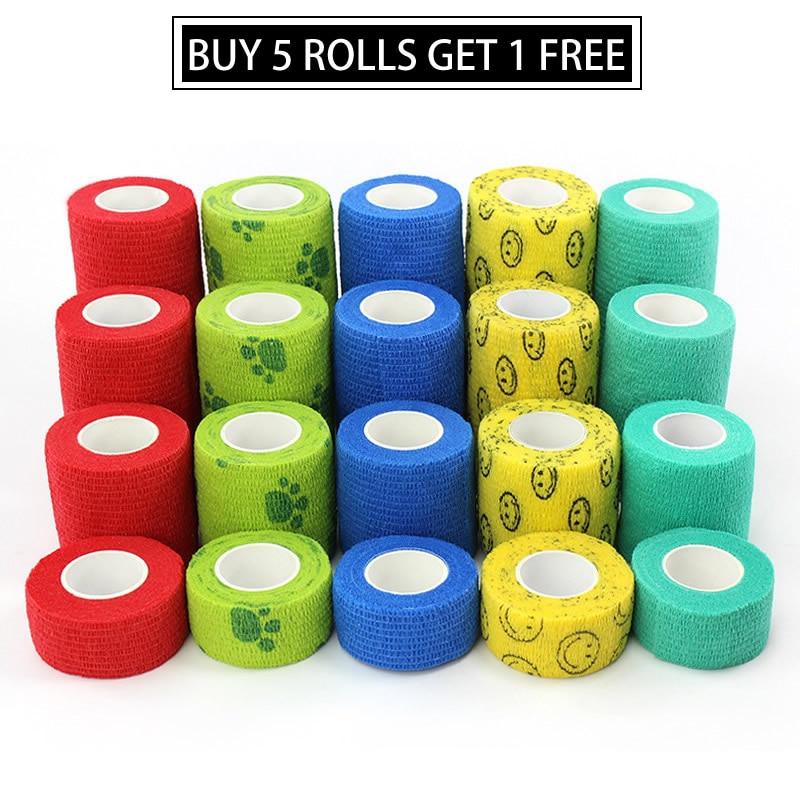 BUY 5 GET 1 FREE - 1pc Sports Self Adhesive Bandage Vet Wraps Tape Finger Joints Medical First Aid Kit Pet Elastic Bandage(China)