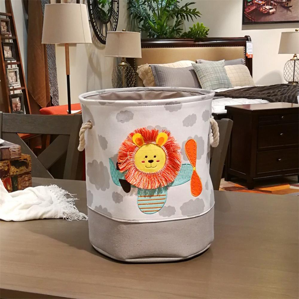 Baby Canvas Basket Cute Cartoon Embroidery Lion Giraffe Storage Basket For Kids Dirty Clothes Bucket Organizer Laundry Bag