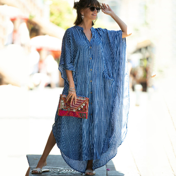 2020 Causal Striped V-neck Button Front Open Summer Beach Dress Blue Cotton Tunic Women Plus Size Clothes Maxi Dresses Q1097 plus button up pocket front pinstripe cami dress