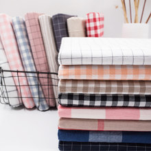 Wash Pure Cotton 100% Fabric for Bed Sheets Quilt Covered Clothing Shirt Grid Striped Plaid Cloth Brocade Sewing Diy 50x250cm