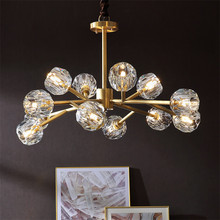 Modern K9 Crystal Led Chandelier Lighting American Luxury Copper  Pendant Hanging Light Lustre for living room Ceiling Fixtures willlustr copper pendant lamp brass hanging light fabric shade chandelier modern suspension lighting american country bronze