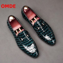 OMDE Summer New Fashion Crocodile Pattern Mens Loafers Leather Shoes Patent Round Toe Slip On Party And Prom