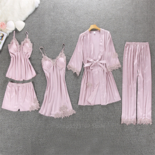 25Style Satin Pajamas for Women Home Wear Solid Lace Silk House V-neck Cardigan Sleepwear