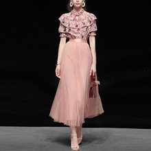 Summer clothes 2020 Women's temperament two-piece suit fashionable printing chiffon short sleeve top yarn skirt skirt suit(China)