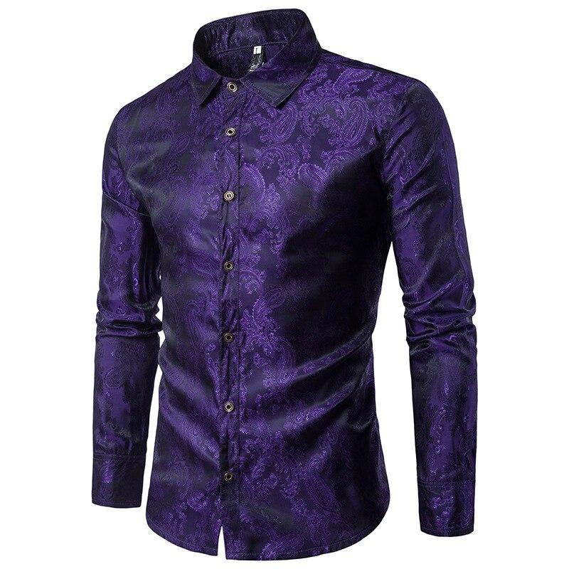 Fashion Large Body Embroidered Decorative Pattern Men Casual Long Sleeve Lapel Shirt CS30