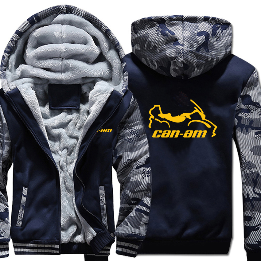 Can Am Motorcycles Hoodies Winter Camouflage Sleeve Jacket Men Fleece Can Am Sweatshirts