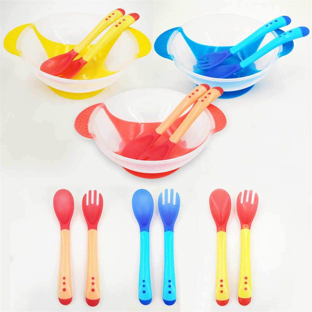 درجة الحرارة الاستشعار ملعقة للتغذية الطفل أدوات المائدة وعاء طعام أطباق التعلم خدمة لوحة/صينية شفط كأس الطفل أواني الطعام مجموعة