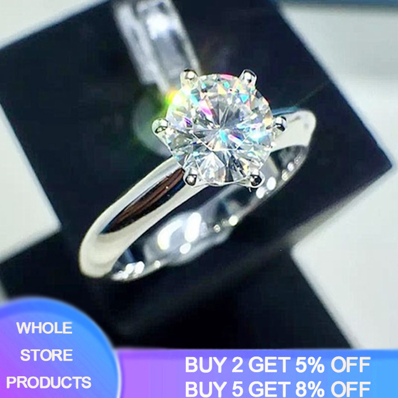 Sell at a loss! Luxury Classic 1 Carat Lab Diamond Ring With Certificate 18KRGP Stamp White Gold Pt Wedding Rings For Women Gift(China)