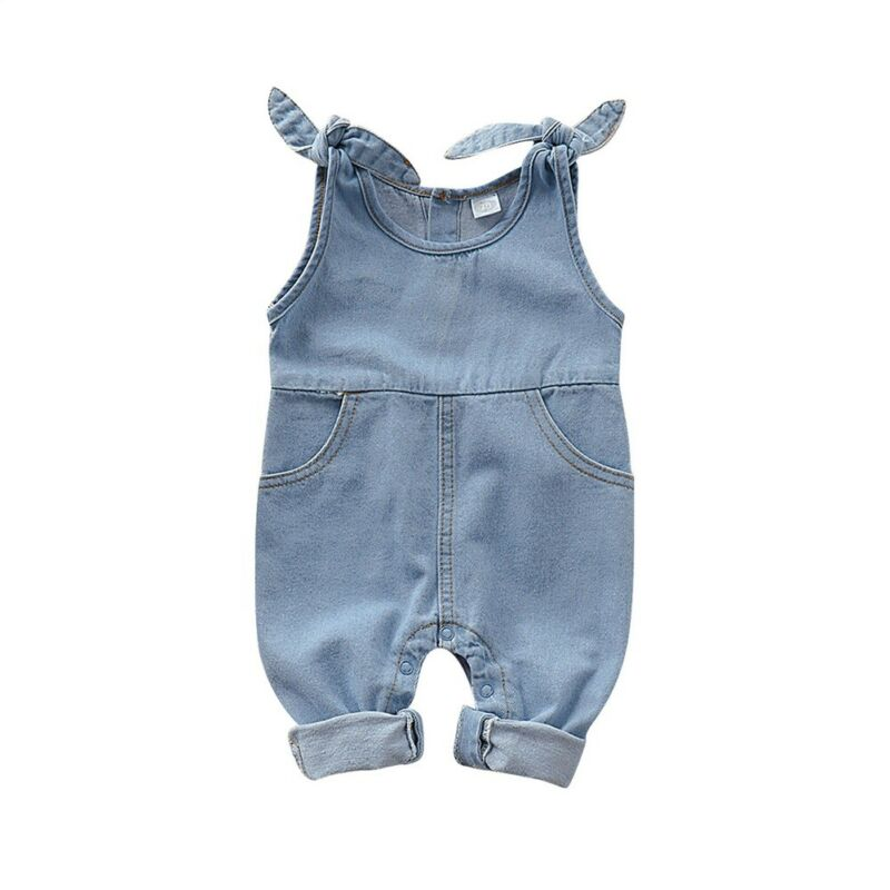 Children Kid Baby Girl Casual Bow Jeans Denim Romper Jumpsuit Outfit Set Clothes