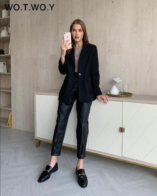 High Waisted Straight Leather Trousers  3