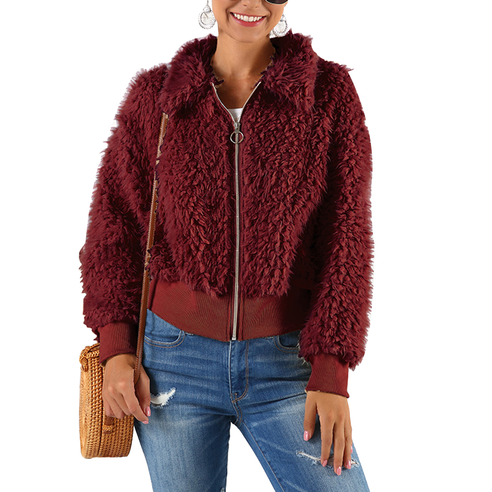 HEFLASHOR Women's Plush coat autumn winter Women Button Jacket Casual Warm turndown collar fur Outwear Mid-Length Woolen jackets 23