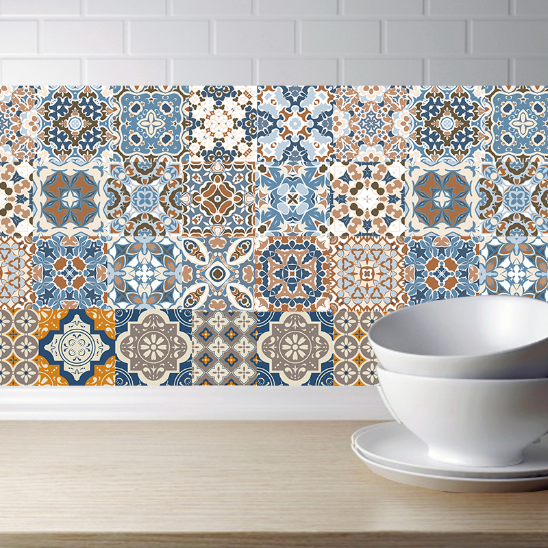 Arabic Retro Tile Stickers For Kitchen Bathroom PVC Self Adhesive Wall Stickers Living Room DIY Decor Wallpaper Waterproof(China)