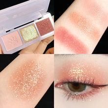 Meng claw tri-color eye shadow tray small portable Pearl milk tea earth tone matte fine flash color factory outlet