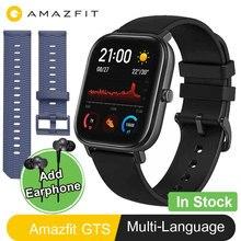 Amazfit ساعة يد ذكية, ساعة ذكية موديل GTS الجديد الإصدار العالمي ساعة ذكية لتحديد المواقع تشغيل معدل ضربات القلب 5ATM ساعة ذكية مقاومة للماء