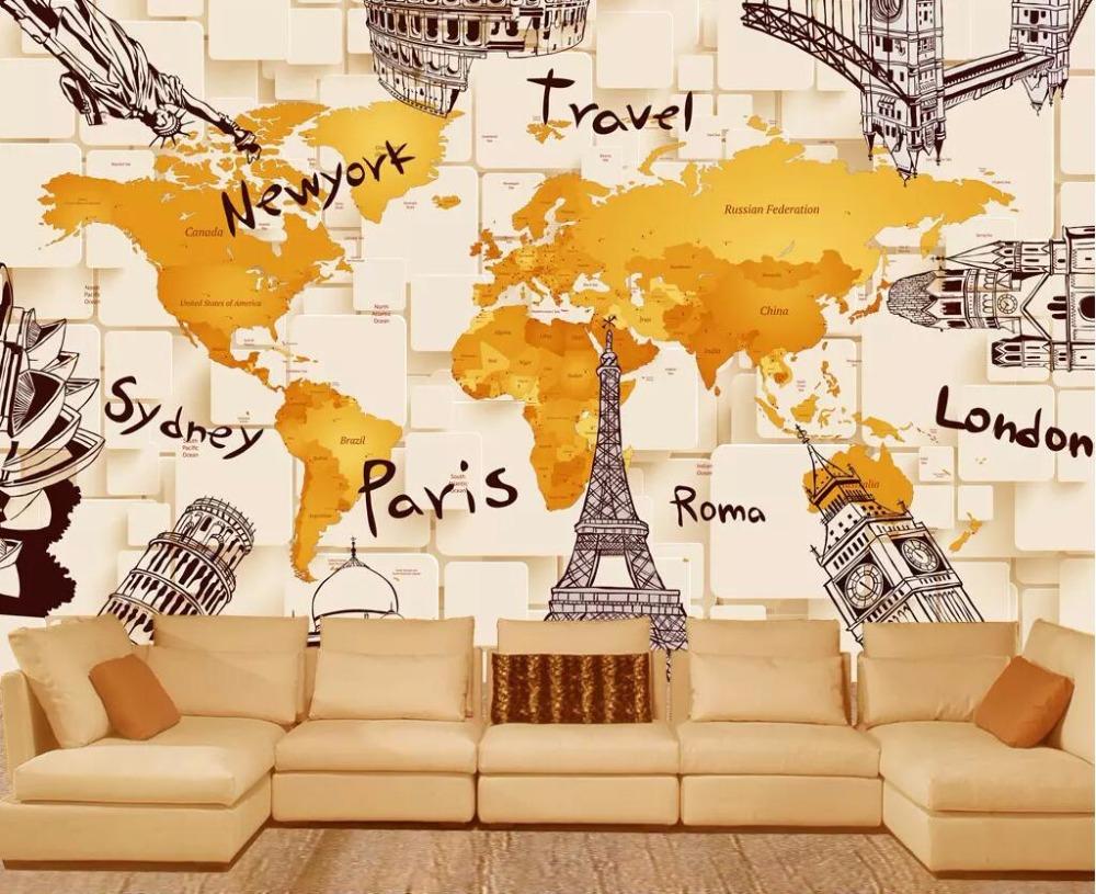 Cjsir Wallpaper Kustom Kreatif 3d Arsitektur Dunia Peta Mural Tv Latar Belakang Dinding Gambar Ruang Tamu Kamar Tidur 3d Wallpaper Wallpaper Aliexpress