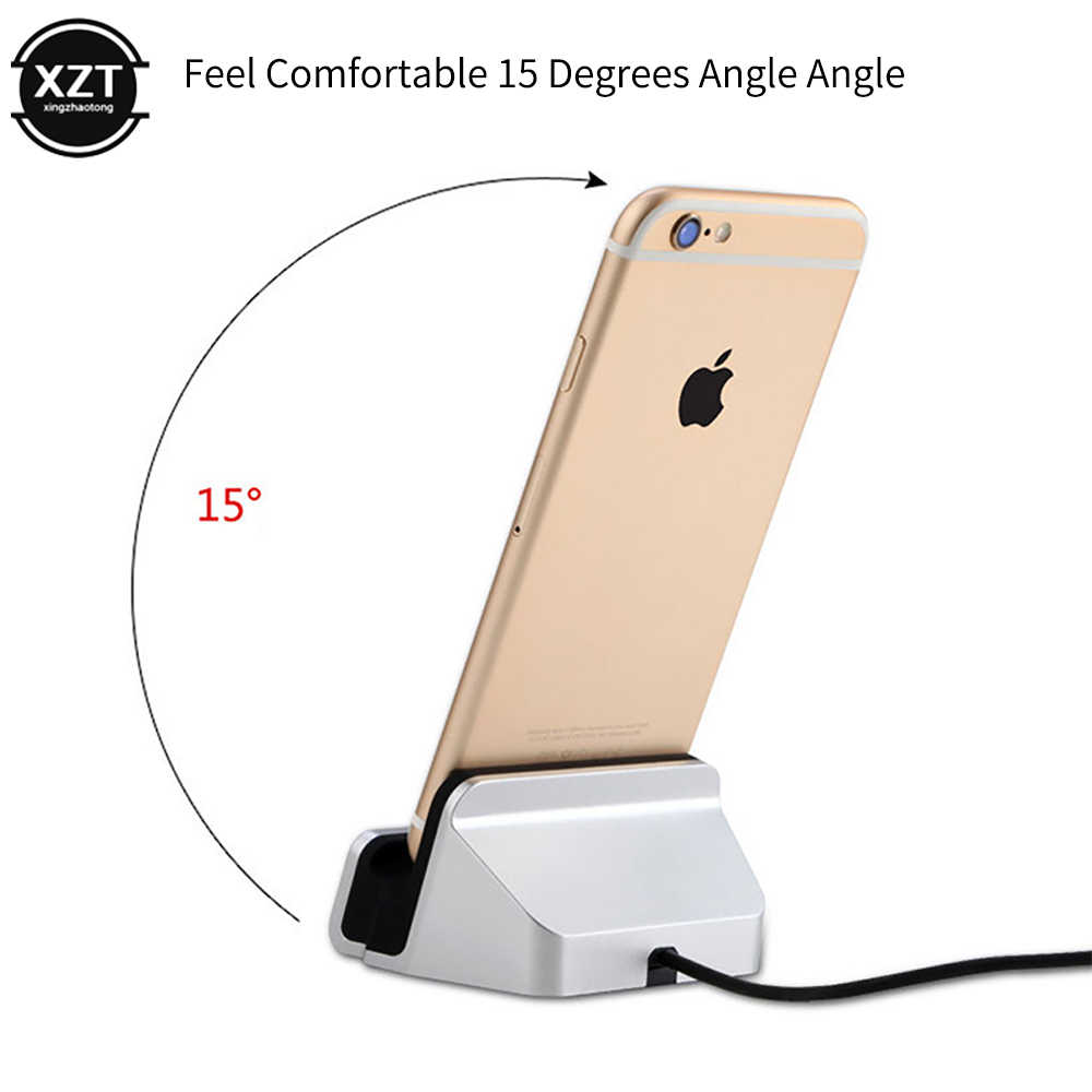 2-In-1 Kabel Usb Data Charger Dock Stand Stasiun Pengisian untuk iPhone X XS Max XR 6 6S 7 7 Plus 5 Se Docking Desktop Cradle