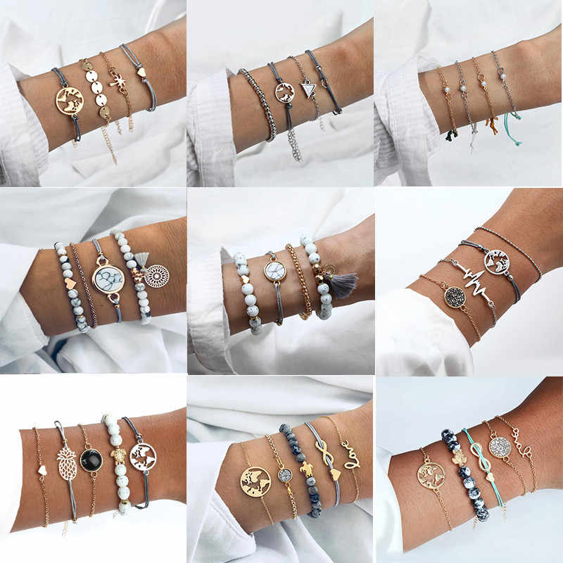4 Pcs/ Set Multilayer Adjustable Open Bracelet Set For Women 2019 Retro Geometric Statement Female Glamour Fashion Jewelry