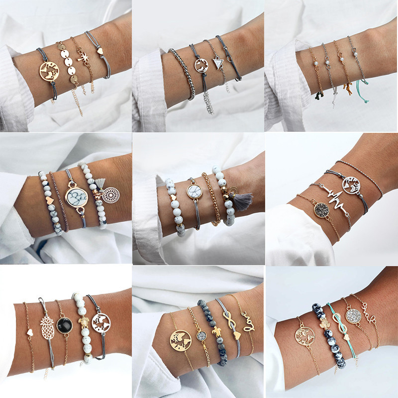 4 Pcs/ <font><b>Set</b></font> Multilayer Adjustable Open <font><b>Bracelet</b></font> <font><b>Set</b></font> For Women 2019 Retro Geometric Statement Female Glamour Fashion Jewelry image