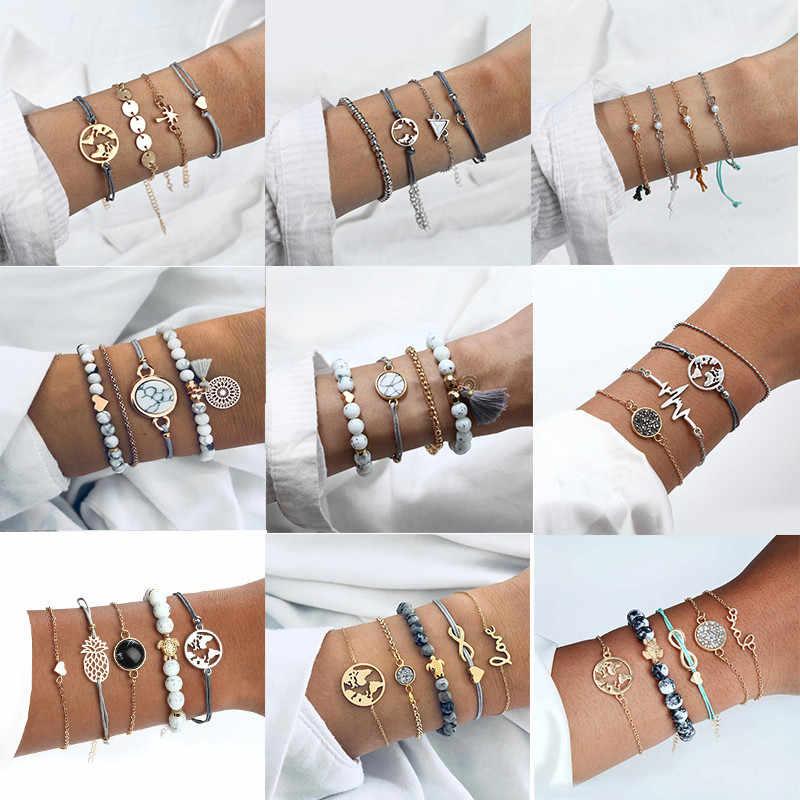 4 sztuk/zestaw wielowarstwowy regulowany otwarty zestaw bransoletek dla kobiet 2019 Retro geometryczne oświadczenie kobiece Glamour biżuteria