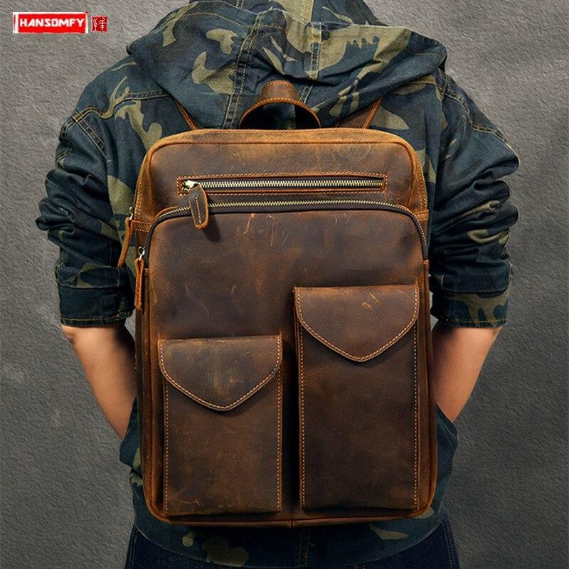 Durável couro de cavalo louco mochila masculina grande capacidade portátil saco de viagem mochilas retro primeira camada de couro sacos de escola