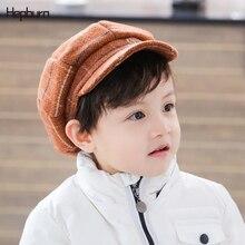 Бренд Hepburn дети младенец Начинающий ходить Малыш головной убор восьмиугольная детская шапка зимняя хлопковая художница малярные шляпы дети восьмиугольная кепка