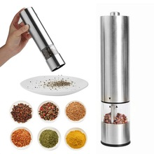 Stainless Steel Portable Electric Pepper Spice Grinder Automatic Salt Muller Mill Seasoning Spice Grinder Kitchen Gadget Tool convenient modern stainless steel acrylic pepper spice sea salt mill grinder muller silver