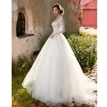 Verngo Aline Wedding Dress Appliques Tulle Gowns Long Sleeves Elegant Bride Contrast Color Ivory/White Brautkleid