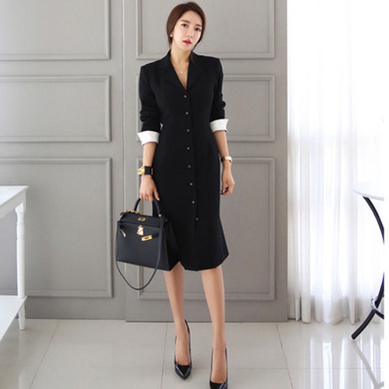 Autumn <font><b>Black</b></font> <font><b>Long</b></font> Sleeve Notched Collar Suit <font><b>Dresses</b></font> High End <font><b>Womens</b></font> <font><b>Dress</b></font> Ladies <font><b>Bodycon</b></font> <font><b>Sexy</b></font> Party Midi Pencil Business <font><b>Dress</b></font> image
