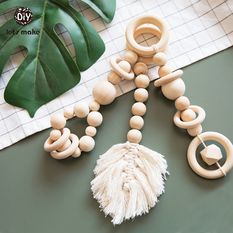 Let's Make Wood Bed Bell Tassel Leaves Shape Knitting Developmental Educational Dreamcatcher Soft Baby Bed Hanging Rattles Toys