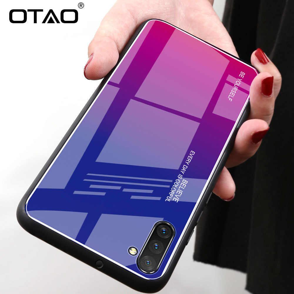 Étui pour samsung Note 10 9 8 Pro S10 Plus S9 S8 en verre trempé dégradé OTAO étui pour bord en TPU souple sur la couverture Galaxy A50 A70 A30 A60