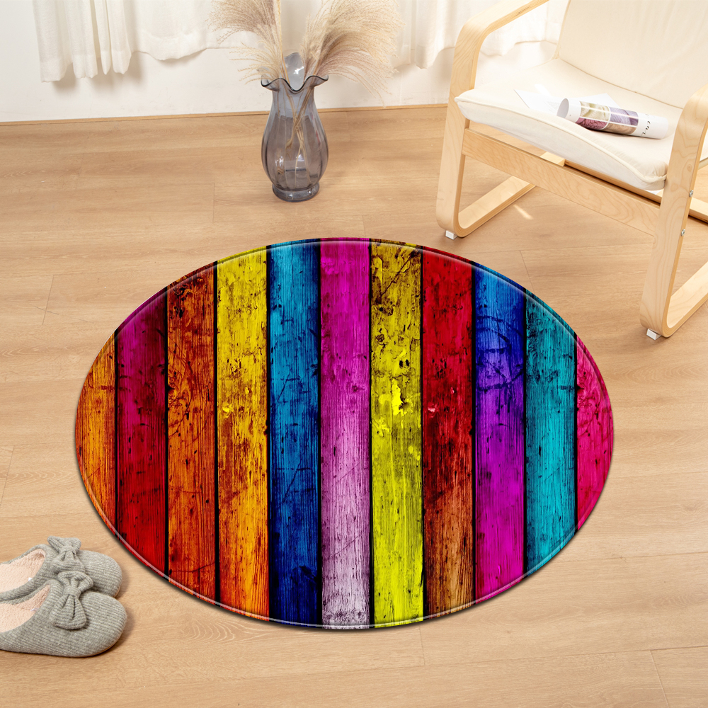 Wood Grain Round Carpet Computer Chair Cushion Kids Room Bedroom Rug Living Room 3D Pattern Decorative Floor Bedside Mat
