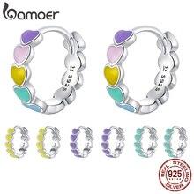 bamoer Genuine 925 Sterling Silver Rainbow Color Enamel Heart Hoop Earrings for Women 2020 New Ear Hoops Female Jewelry SCE909