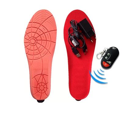 Стельки с электрическим подогревом, с пультом дистанционного управления, на батарейках, для женщин, зимняя обувь для катания на лыжах, для катания на природе, размеры EUR 35-46 - Цвет: Red