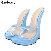 Sorbern Patent Wedges Slip On Sandals Women Open Toe Transparent Pvc Ladies Platform Shoes Fetish Summer Style Custom Colors