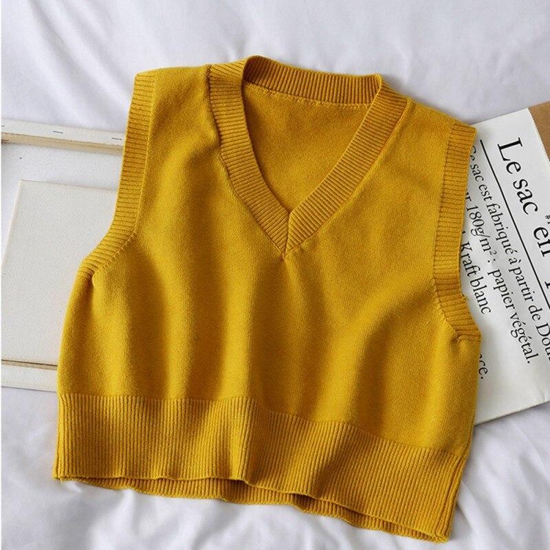 Купить осенний свитер без рукавов женский милый однотонный вязаный