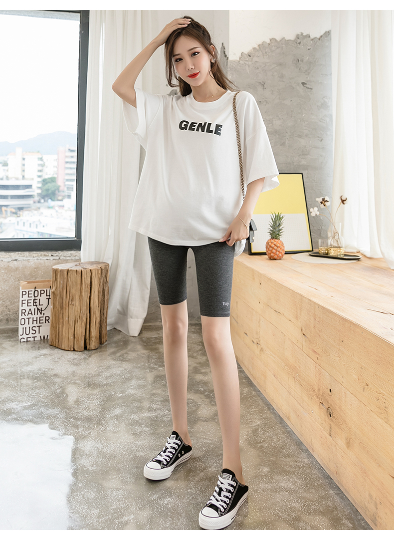 624# Summer Thin Cotton Maternity Short Legging Low Across V Waist Belly Half Legging for Pregnant Women Pregnancy Pencil Shorts