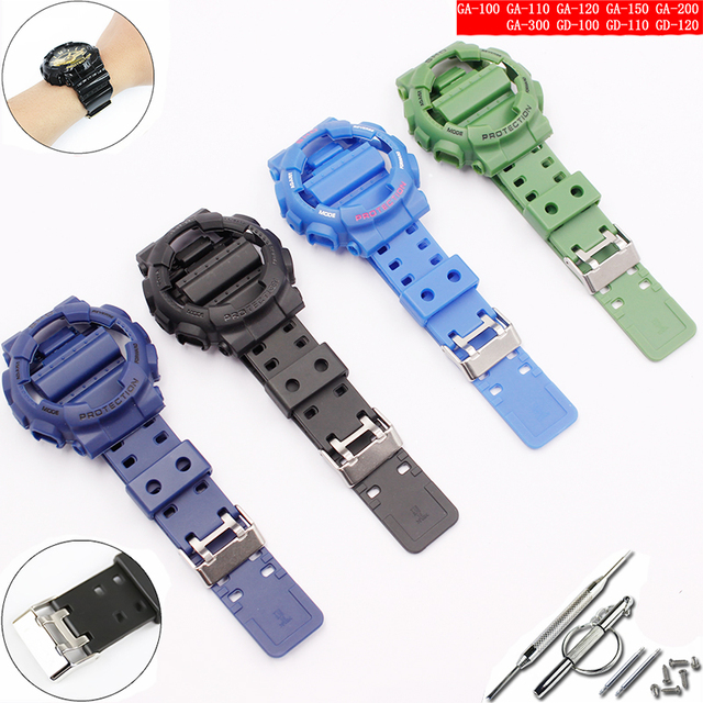 Watch accessories for Casio resin strap G SHOCK GA GLS GD 110 100 120 pin buckle 16mm mens and womens rubber sports watch case
