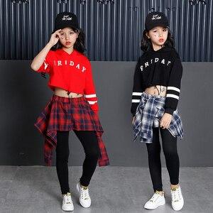 Image 3 - 子供のスポーツスーツ綿の服韓国のファッションヒップホップストリート十代の少女パーカートレーナー + チェック柄スカートパンツ
