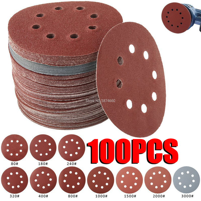 100/50pcs 125mm Sandpaper Round Shape Sanding Discs Hook Loop Sanding Paper Buffing Sheet Sandpaper 8 Hole Sander Polishing Pad