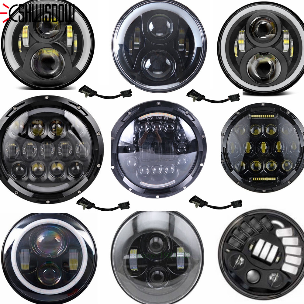 "Image 5 - 7"" Inch H4 LED Headlight For Harley Davidsion Softail Slim Fat Boy 7inch Halo Angel Eye DRL Led Motorcycle Headlamp    -"